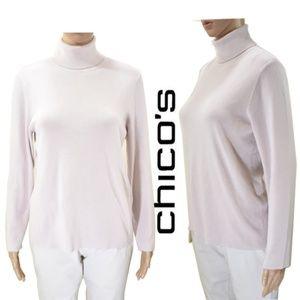 CHICOS  Turtleneck Cream Sweater